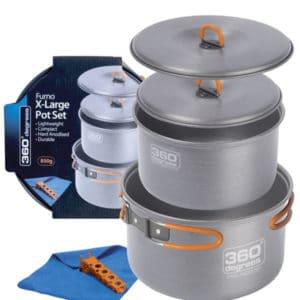 360 Degrees Hard Anodized X-Large Pot Set 850g