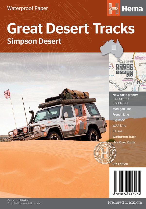 Great Desert Tracks Simpson Desert Sheet Map - Hema