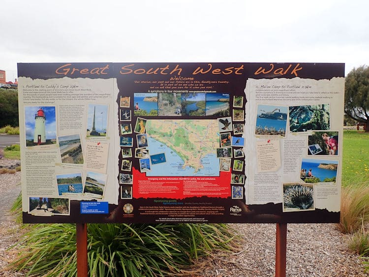 Great South West Walk starting sign