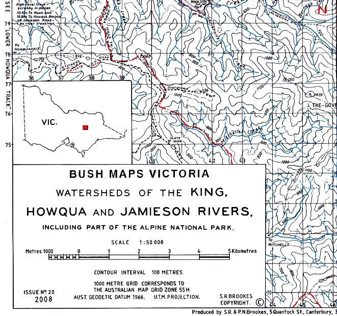 Map Grid Of Australia Zone 50.Watersheds Of The King Howqua And Jamieson Rivers
