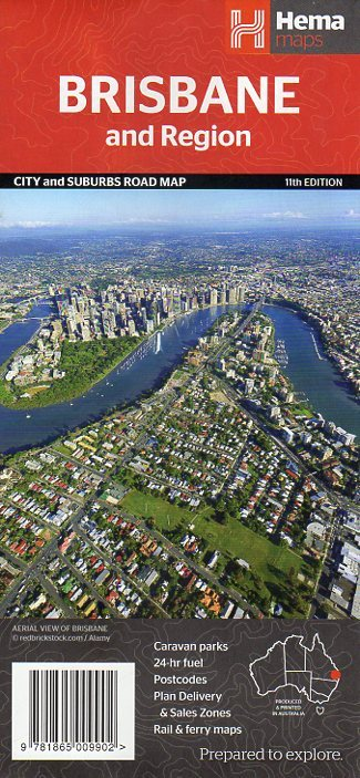 Brisbane and Region City and Suburbs Road Map - Hema