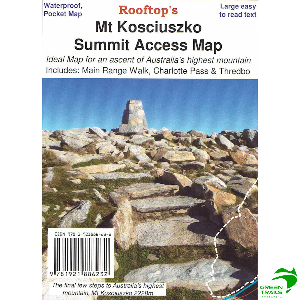 Map Of Australia Mt Kosciuszko.Mount Kosciuszko Summit Access Pocket Map Waterproof Rooftop Maps