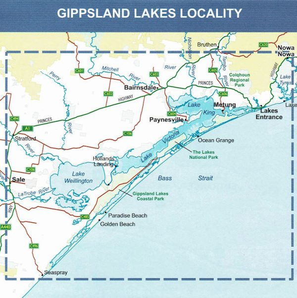 Map Of Australia Lakes.Gippsland Lakes Outdoor Recreation Guide Map Sv Maps
